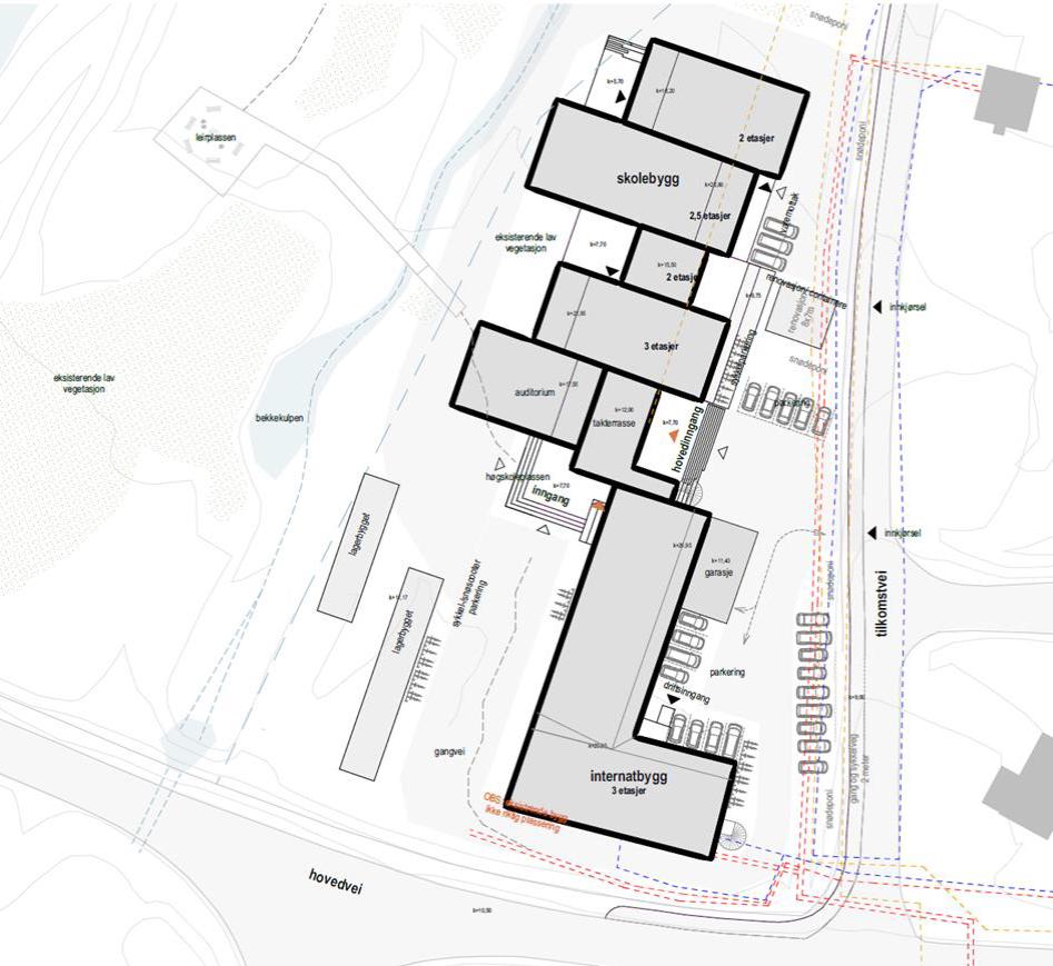 Teknisk skisse av ny folkehøgskole i Longyearbyen